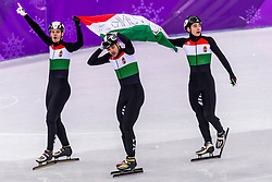 22-02-2018 KOR: Olympic Games day 13, PyeongChang<br /> Short Track Speedskating / Shaoang Liu #5 of Hungary, Viktor Knoch #11 of Hungary, Csaba Burjan #183 of Hungary