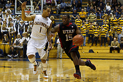 Jan 14, 2012; Berkeley CA, USA;  Utah Utes guard Josh Watkins (15) dribbles past California Golden Bears guard Justin Cobbs (1) during the first half at Haas Pavilion. California defeated Utah 81-45. Mandatory Credit: Jason O. Watson-US PRESSWIRE