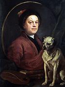The Artist and his Dog' 1745.  Wiliam Hogarth (1697-1764) English painter, printmaker, cartoonist. Self-Portrait Pug