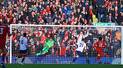 LIVERPOOL, ENGLAND - Saturday, February 9, 2019: Liverpool supporters react as AFC Bournemouth's goalkeeper Artur Boruc is beaten for second goal, scored by Georginio Wijnaldum (out of frame), during the FA Premier League match between Liverpool FC and AFC Bournemouth at Anfield. (Pic by David Rawcliffe/Propaganda)