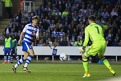 John Swift of Reading shot on goal is directed and saved by Marcus Bettinelli of Fulham - Mandatory by-line: Jason Brown/JMP - 16/05/2017 - FOOTBALL - Madejski Stadium - Reading, England - Reading v Fulham - Sky Bet Championship Play-off Semi-Final 2nd Leg
