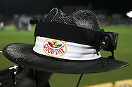 The Umpire Cam, a camera attached to the Umpires hat so viewers get a chance to see what the umpire sees during the first semi-final match of the Karbonn Smart Champions League T20 (CLT20) 2013 between The Rajasthan Royals and the Chennai Superkings held at the Sawai Mansingh Stadium in Jaipur on the 4th October 2013<br /> <br /> Photo by Shaun Roy-CLT20-SPORTZPICS<br /> <br /> Use of this image is subject to the terms and conditions as outlined by the CLT20. These terms can be found by following this link:<br /> <br /> http://sportzpics.photoshelter.com/image/I0000NmDchxxGVv4