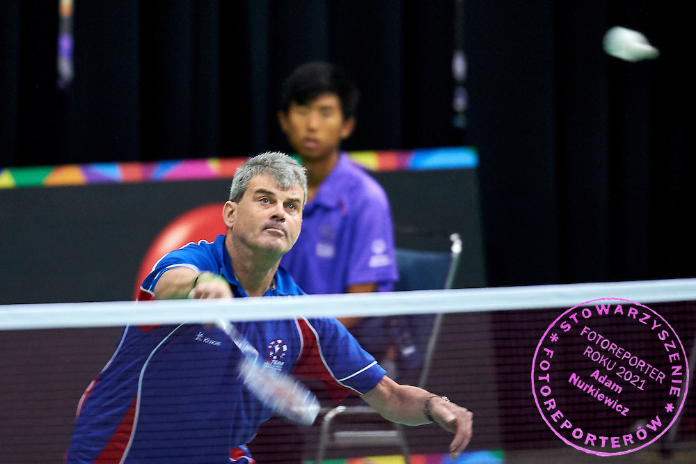 SO Great Britain athlete Kevin Trebilcock in action against SO Bangladesh at badminton competition during seventh day of the Special Olympics World Games Los Angeles 2015 on July 31, 2015 at South Hall of Convention Centre  in Los Angeles, USA.<br /> <br /> USA, Los Angeles, July 31, 2015<br /> <br /> Picture also available in RAW (NEF) or TIFF format on special request.<br /> <br /> For editorial use only. Any commercial or promotional use requires permission.<br /> <br /> Adam Nurkiewicz declares that he has no rights to the image of people at the photographs of his authorship.<br /> <br /> Mandatory credit:<br /> Photo by &copy; Adam Nurkiewicz / Mediasport