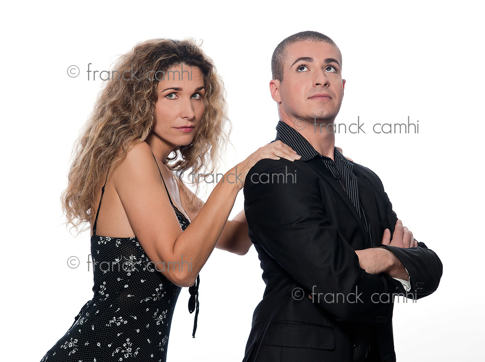 caucasian couple portrait dispute woman sulk isolated studio on white background