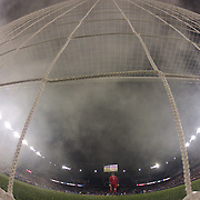Goalkeeper Eric Kronberg, Sporting Kansas City, surrounded by smoke from flares during his sides 2-1 loss during the New York Red Bulls V Sporting Kansas City, Major League Soccer Play Off Match at Red Bull Arena, Harrison, New Jersey. USA. 30th October 2014. Photo Tim Clayton