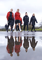 CARDIFF, WALES - Thursday, April 4, 2019: Wales' L-R Kayleigh Green, Gemma Evans, Angharad James and Jessica Fishlock during a pre-match team walk at the Vale Resort ahead of an International Friendly match between Wales and Czech Republic at Rodney Parade. (Pic by David Rawcliffe/Propaganda)
