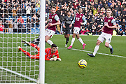 Burnley goalkeeper Nick Pope save Leicester City forward Jamie Vardy penalty kick during the Premier League match between Burnley and Leicester City at Turf Moor, Burnley, England on 19 January 2020.