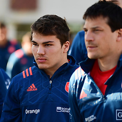 (L-R) Antoine Dupont and Francois Trinh Duc of France during the training session of  the France rugby team at Centre National de Rugby on March 14, 2017 in Marcoussis, France. (Photo by Dave Winter/Icon Sport)