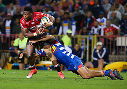 Aphiwe Dyantyi of the Emirates Lions during the first half of the Vodacom Super Rugby match between the DHL Stormers and the Emirates Lions at DHL Newlands in Cape Town, South Africa, Saturday May 26 2018. <br /> (Roger Sedres/ANA)