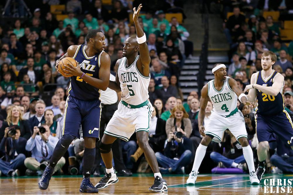 14 November 2012: Boston Celtics power forward Kevin Garnett (5) defends on Utah Jazz center Al Jefferson (25) during the Boston Celtics 98-93 victory over the Utah Jazz at the TD Garden, Boston, Massachusetts, USA.