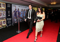 Scunthorpe United's Josh Morris and Daniella Blackledge arriving for the Professional Footballers' Association Awards 2017 at the Grosvenor House Hotel, London