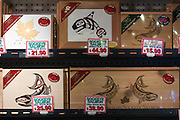 Granville Island Market. Salmon packaged in gift boxes decorated with First Nations designs.