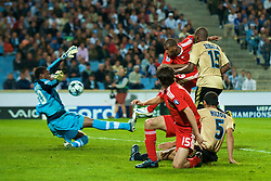 MARSEILLE, FRANCE - Tuesday, September 16, 2008: Liverpool's Ryan Babel is denied by Olympique de Marseille's goalkeeper Steve Mendanda during the opening UEFA Champions League Group D match at the Stade Velodrome. (Photo by David Rawcliffe/Propaganda)