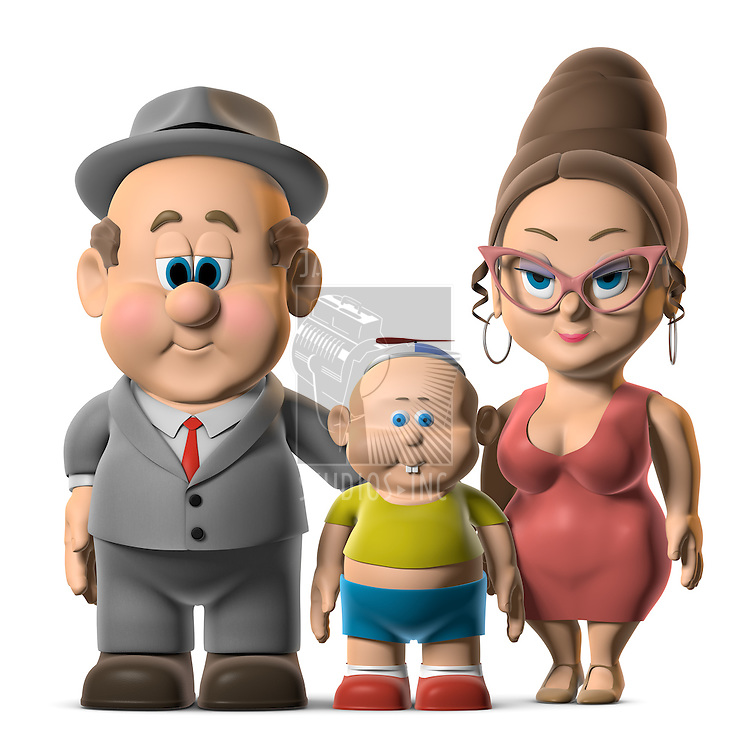 A happy looking cartoon Family posing on a white background. Keyword 'Wilfred' to find mor on this character.