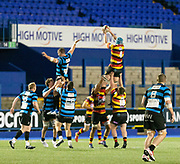 Carmarthen Quins' second row Shaun Jones claims the line out.<br /> <br /> Cardiff Arms Park, Cardiff, Wales, UK - Saturday 19th October, 2019.<br /> <br /> Images from the Indigo Welsh Premiership rugby match between Cardiff RFC and Carmarthen Quins RFC. <br /> <br /> Photographer Dan Minto<br /> <br /> mail@danmintophotography.com <br /> www.danmintophotography.com