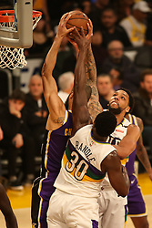 February 27, 2019 - Los Angeles, CA, U.S. - LOS ANGELES, CA - FEBRUARY 27: Los Angeles Lakers Center Tyson Chandler (5) going up over New Orleans Pelicans Center Julius Randle (30) and Jahlil Okafor (8) during the first half of the New Orleans Pelicans versus Los Angeles Lakers game on February 27, 2019, at Staples Center in Los Angeles, CA. (Photo by Icon Sportswire) (Credit Image: © Icon Sportswire/Icon SMI via ZUMA Press)