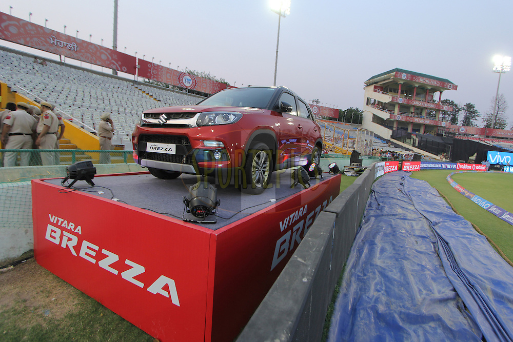 Maruti breeza car on display during match 36 of the Vivo Indian Premier League ( IPL ) 2016 between the Kings XI Punjab and the Delhi Daredevils held at the IS Bindra Stadium, Mohali, India on the 7th May 2016<br /> <br /> Photo by Arjun Singh / IPL/ SPORTZPICS