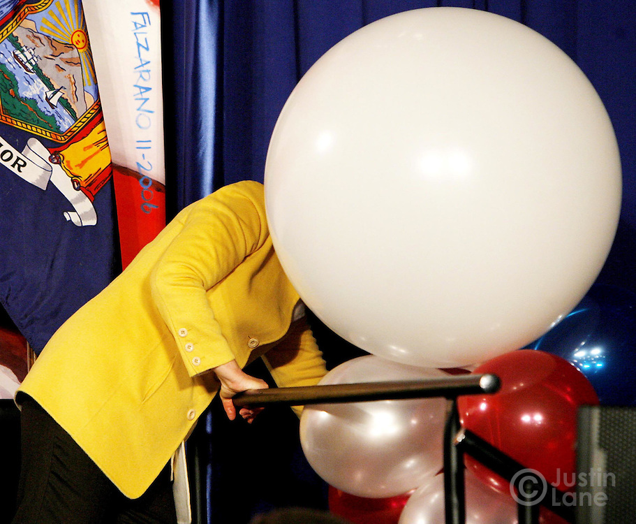 Sen. Hillary Clinton,  D-NY, is partially blocked by a large balloon during the New York State Democratic Party election night event in New York on Tuesday 07 November 2006.
