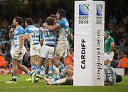 Cardiff, Great Britain, Argentina celebrate at the final whistle after running out as winners over Ireland by 43 points to 20 3rd Quarter Final   Ireland vs Argentina.  2015 Rugby World Cup,  Venue, Millennium Stadium, Cardiff. Wales   Sunday  18/10/2015.   [Mandatory Credit; Peter Spurrier/Intersport-images]