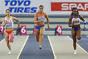 Ewa Swoboda (Poland), Dafne Schippers (Netherlands), Asha Philip (Great Britain), 60m Women Final, during the European Athletics Indoor Championships 2019 at Emirates Arena, Glasgow, United Kingdom on 1 March 2019.