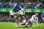 Portsmouth Midfielder, Jamal Lowe (10) has a shot blocked by Wycombe Wanderers Defender, Joe Jacobson (3) during the EFL Sky Bet League 1 match between Portsmouth and Wycombe Wanderers at Fratton Park, Portsmouth, England on 22 September 2018.