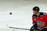 KELOWNA, BC - NOVEMBER 26: Jadon Joseph #18 of the Kelowna Rockets warms up with the puck for his first game as a Rocket against the Edmonton Oil Kings at Prospera Place on November 26, 2019 in Kelowna, Canada. (Photo by Marissa Baecker/Shoot the Breeze)