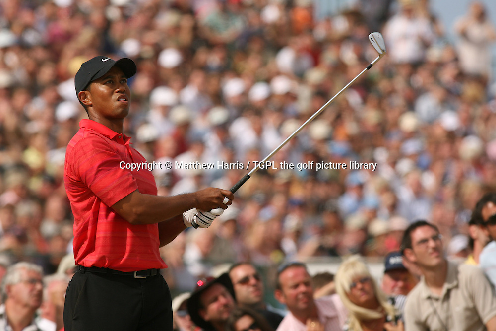 Tiger WOODS (USA) tee shot at 9th during fourth round The Open Championship 2006,Royal Liverpool, Hoylake, Wirral,England.