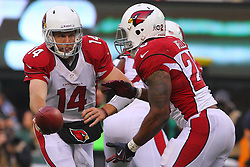 Dec 2, 2012; East Rutherford, NJ, USA; Arizona Cardinals quarterback Ryan Lindley (14) hands the ball to Arizona Cardinals running back Beanie Wells (26) during the first half at MetLIfe Stadium.