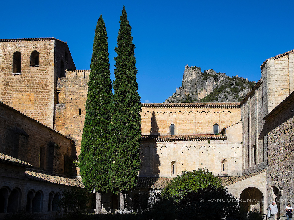 L'abbaye de Saint Guilhem Le Désert, le cloitre. Abbaye bénédictine fondée en 804 par Guillaume de Gellone, elle est inscrite au patrimoine mondial de l'UNESCO depuis 1998 / The abbey of Saint Guilhem Le Desert, the cloister. Benedictine abbey founded in 804 by William of Gellone, it is a World Heritage Site by UNESCO since 1998.