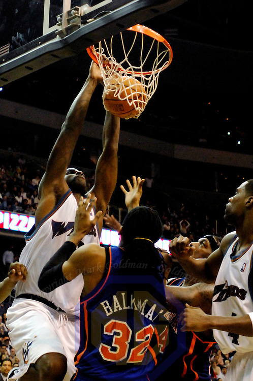 10 March 2007:   Washington Wizards center Etan Thomas (36) slams in two points in the second half against New York Knicks forward Renaldo Balkman (32) at the Verizon Center in Washington, D.C.  The Knicks defeated the Wizards 90-89.