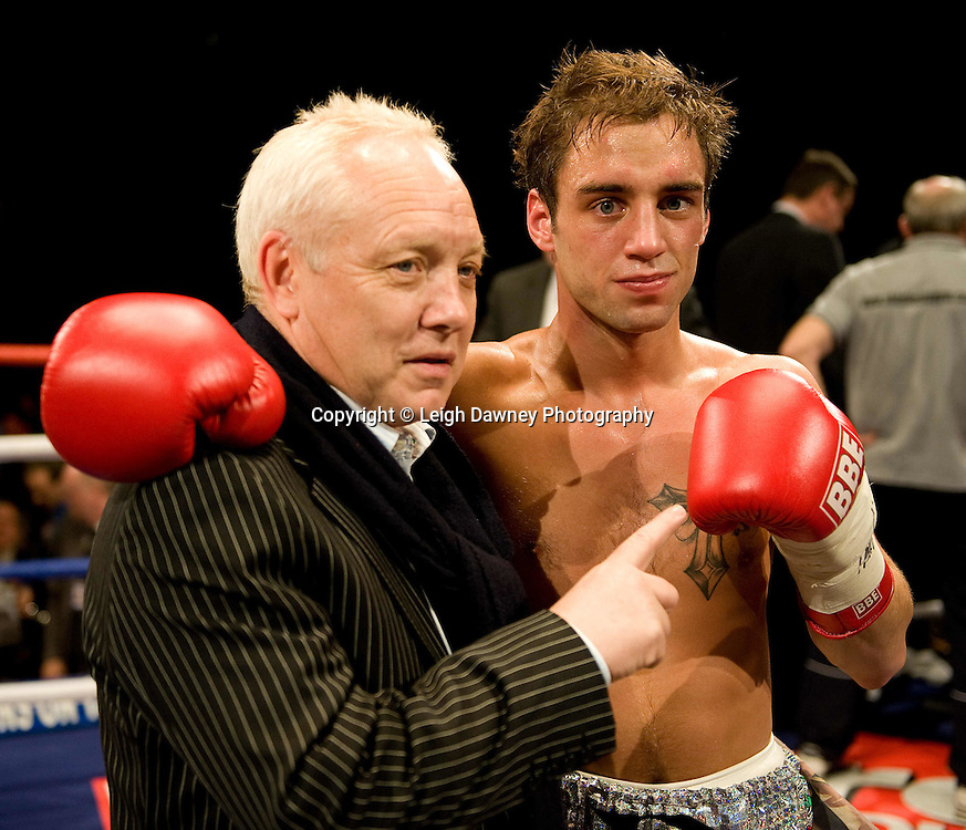 Ashley Sexton with Frank Maloney after a knock out win over Usman Ahmed at Brentwood Centre 22nd January 2010, Frank Maloney Promotions,Credit: © Leigh Dawney Photography