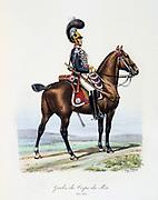 Mounted member of the King's guard, 1820-1830.  From 'Histoire de la maison militaire du Roi de 1814 a 1830' by Eugene Titeux, Paris, 1890.