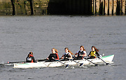 Hammersmith, GREAT BRITAIN,   Godolphin and Latymer, move away from Hammersmith Bridge in the JWC4X, during the 2008 School Head of the River Race,  04/03/2008  2008. [Mandatory Credit, Peter Spurrier/Intersport-images] Rowing Course: River Thames, Championship course, Putney to Mortlake 4.25 Miles, Hammersmith Bridge