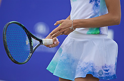 LIVERPOOL, ENGLAND - Sunday, June 23, 2019: Corinna Dentoni (ITA) wearing a silver bracelet featuring two tennis rackets during the Ladies' Final on during Day Four of the Liverpool International Tennis Tournament 2019 at the Liverpool Cricket Club. (Pic by David Rawcliffe/Propaganda)