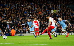 Radamel Falcao Garcia of Monaco has a penalty saved by Wilfredo Caballero of Manchester City - Mandatory by-line: Matt McNulty/JMP - 21/02/2017 - FOOTBALL - Etihad Stadium - Manchester, England - Manchester City v AS Monaco - UEFA Champions League - Round of 16 First Leg