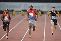 "Kim Collins SKN, Usain Bolt Jamaica 100m men winner 9.76, Christophe Lemaitre France<br /> Roma 31/5/2012 Stadio ""Olimpico""<br /> Atletica Compeed Golden Gala 2012<br /> Track and Fields<br /> Foto Andrea Staccioli Insidefoto"