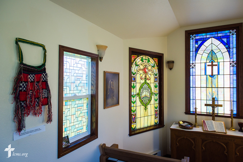 Stained glass and decorations inside the Wayside Prayer Chapel on Sunday, July 19, 2015, at Mission Central in Mapleton, Iowa. LCMS Communications/Erik M. Lunsford