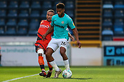Forest Green Rovers Reuben Reid(26) holds the ball up during the 2nd round of the Carabao EFL Cup match between Wycombe Wanderers and Forest Green Rovers at Adams Park, High Wycombe, England on 28 August 2018.