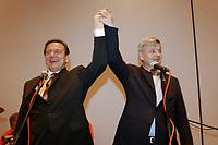23 SEP 2002, BERLIN/GERMANY, 00:34 h:<br /> Gerhard Schroeder (L), SPD, Bundeskanzler, und Joschka Fischer (R), B90/Gruene, Bundesaussenminister, halten eine Rede, vor SPD Parteifreunden und Parteimitgliedern auf der nichtoeffentlichen SPD Wahlparty, in der Nacht zum 23. September 2002, Wahlabend der Bundestagswahl 2002, Willi-Brandt-Haus <br /> IMAGE: 20020922-01-136<br /> KEYWORDS: Gerhard Schröder, Wahlabend 2002, speech,