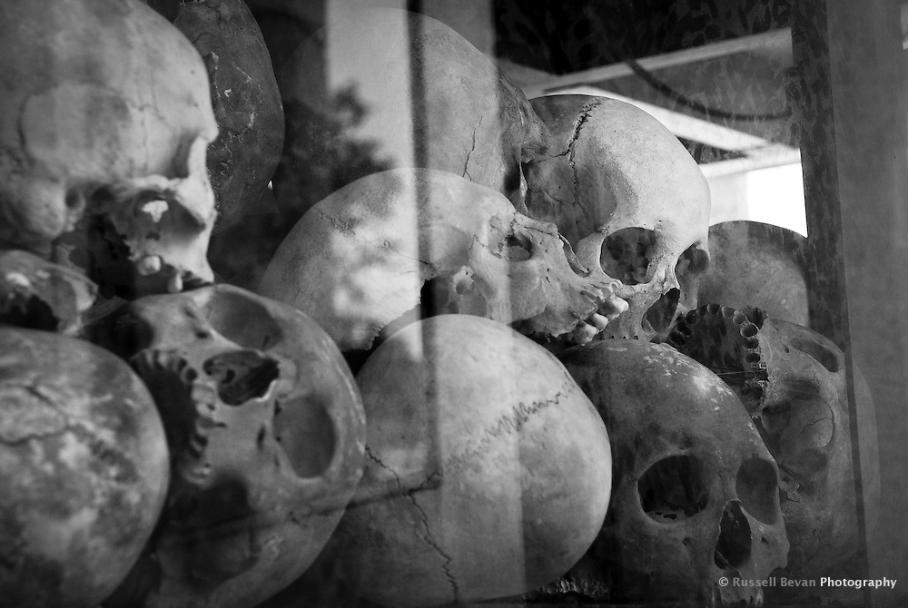 Skulls Inside The Killing Fields memorial stupa at Choeung Ek, 17 km South of Phnom Penh, Cambodia