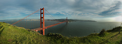 View of the Golden Gate Bridge, the San Francisco Bay and the City of San Francisco from Battery Spencer in the Marin Headlands of California. 5 image panorama.