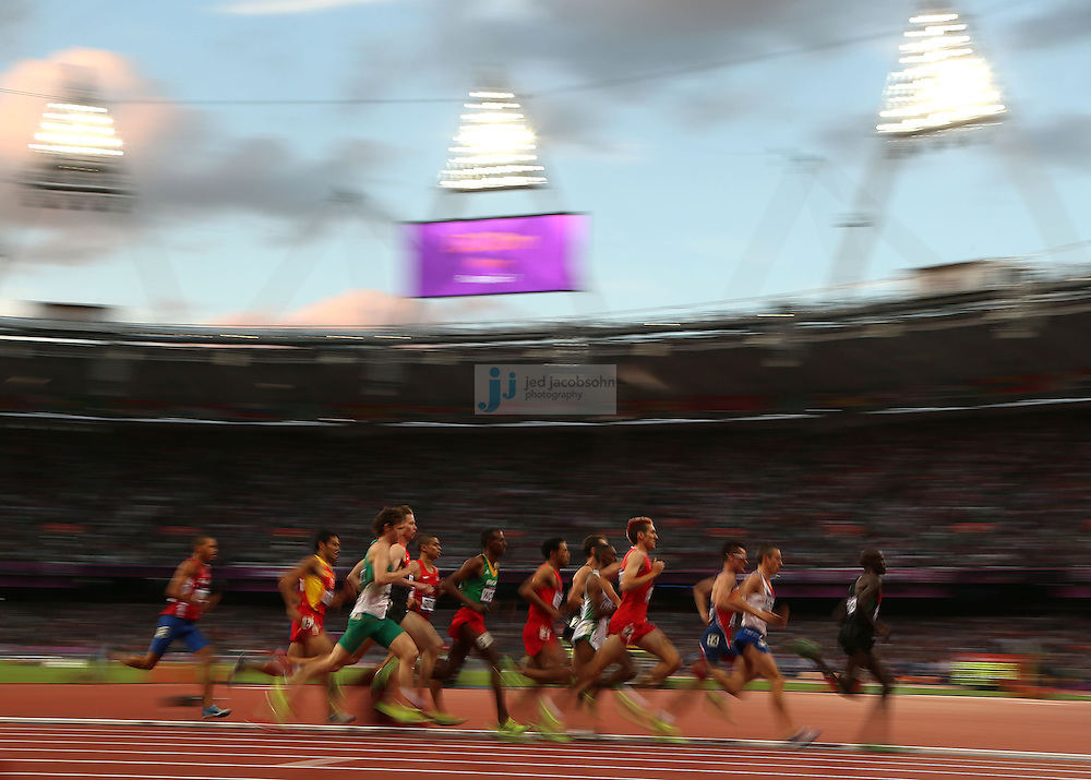 The third heat of the men's 1500m during the track and field at the Olympic Stadium during day 6 of the London Olympic Games in London, England, United Kingdom on August 3, 2012..(Jed Jacobsohn/for The New York Times)..