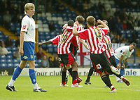 Photo: Aidan Ellis.<br /> Bury FC v Brentford. Coca Cola League 2. 01/09/2007.<br /> Brentford players mob match winner Ricky Shakes after he scored the winning goal