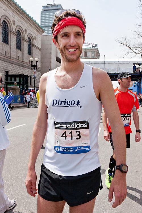 2013 Boston Marathon: Kirby Davis, ME, post race smiels