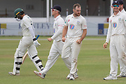 WICKET - Ben Raine has Hassan Azad caught behind during the Specsavers County Champ Div 2 match between Leicestershire County Cricket Club and Durham County Cricket Club at the Fischer County Ground, Grace Road, Leicester, United Kingdom on 10 July 2019.