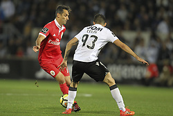 November 5, 2017 - Guimaraes, Guimaraes, Spain - Benfica's Brazilian forward Jonas with Vitoria SC's Colombian midfielder Guillermo Celis during the Premier League 2017/18 match between Vitoria SC and SL Benfica, at Dao Afonso Henriques Stadium in Guimaraes on November 5, 2017. (Credit Image: © Dpi/NurPhoto via ZUMA Press)