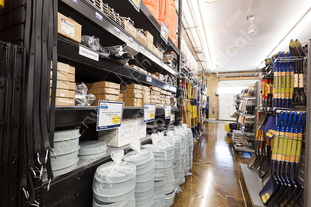 Commercial photography at Hard Rock Developments. Photography of the retail store and storage yard for an Industrial concrete tool manufacturer and parts supplier. Images for use on the website and marketing materials...©2012, Sean Phillips.http://www.RiverwoodPhotography.com