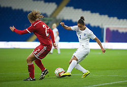 CARDIFF, WALES - Tuesday, August 21, 2014: England's Demi Stokes in action against Wales during the FIFA Women's World Cup Canada 2015 Qualifying Group 6 match at the Cardiff City Stadium. (Pic by Ian Cook/Propaganda)