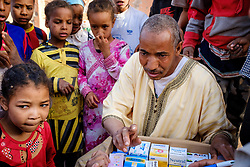 Gifts of medicines being distrubuted in a small remote village in southern Morocco<br /> <br /> (c) Andrew Wilson | Edinburgh Elite media