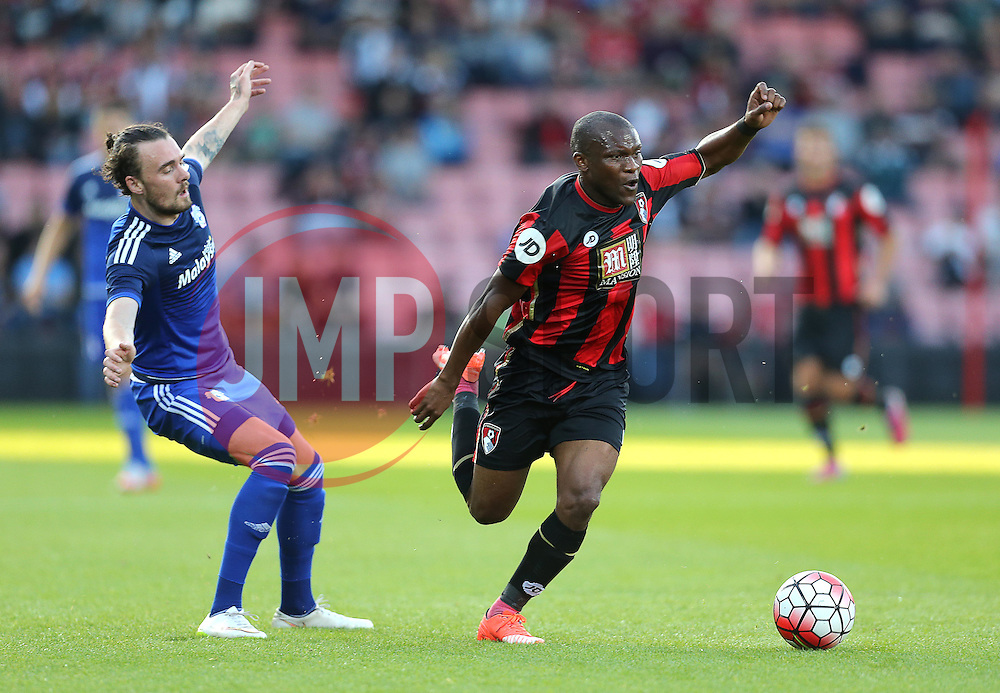 Tokelo Rantie of Bournemouth avoids a challenge from Scott Malone of Cardiff City - Mandatory by-line: Paul Terry/JMP - 07966386802 - 31/07/2015 - SPORT - FOOTBALL - Bournemouth,England - Dean Court - AFC Bournemouth v Cardiff City - Pre-Season Friendly